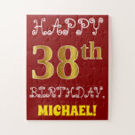 [ Thumbnail: Red, Faux Gold 38th Birthday + Custom Name Puzzle ]