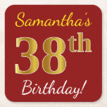[ Thumbnail: Red, Faux Gold 38th Birthday + Custom Name Paper Coaster ]