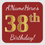 [ Thumbnail: Red, Faux Gold 38th Birthday + Custom Name Sticker ]