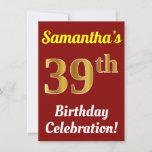 [ Thumbnail: Red, Faux Gold 39th Birthday Celebration + Name Invitation ]