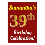 [ Thumbnail: Red, Faux Gold 39th Birthday Celebration + Name Invitation ]