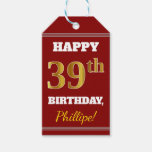 [ Thumbnail: Red, Faux Gold 39th Birthday + Custom Name Gift Tags ]