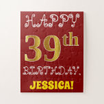 [ Thumbnail: Red, Faux Gold 39th Birthday + Custom Name Puzzle ]