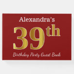 [ Thumbnail: Red, Faux Gold 39th Birthday Party + Custom Name Guest Book ]