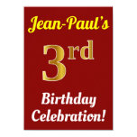 [ Thumbnail: Red, Faux Gold 3rd Birthday Celebration + Name Invitation ]