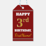 [ Thumbnail: Red, Faux Gold 3rd Birthday + Custom Name Gift Tags ]
