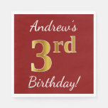 [ Thumbnail: Red, Faux Gold 3rd Birthday + Custom Name Paper Napkin ]