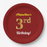 [ Thumbnail: Red, Faux Gold 3rd Birthday + Custom Name Paper Plate ]