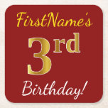 [ Thumbnail: Red, Faux Gold 3rd Birthday + Custom Name Paper Coaster ]