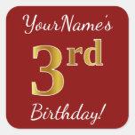 [ Thumbnail: Red, Faux Gold 3rd Birthday + Custom Name Sticker ]