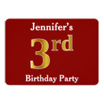 [ Thumbnail: Red, Faux Gold 3rd Birthday Party + Custom Name Invitation ]