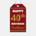 [ Thumbnail: Red, Faux Gold 40th Birthday + Custom Name Gift Tags ]