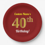[ Thumbnail: Red, Faux Gold 40th Birthday + Custom Name Paper Plate ]