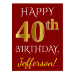 [ Thumbnail: Red, Faux Gold 40th Birthday + Custom Name Postcard ]