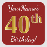 [ Thumbnail: Red, Faux Gold 40th Birthday + Custom Name Sticker ]