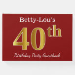 [ Thumbnail: Red, Faux Gold 40th Birthday Party + Custom Name Guest Book ]