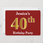 [ Thumbnail: Red, Faux Gold 40th Birthday Party + Custom Name Invitation ]