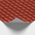 [ Thumbnail: Red, Faux Gold 40th (Fortieth) Event Wrapping Paper ]