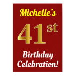 [ Thumbnail: Red, Faux Gold 41st Birthday Celebration + Name Invitation ]