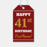[ Thumbnail: Red, Faux Gold 41st Birthday + Custom Name Gift Tags ]