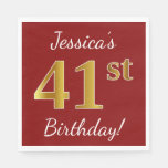 [ Thumbnail: Red, Faux Gold 41st Birthday + Custom Name Napkin ]