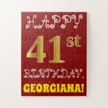 [ Thumbnail: Red, Faux Gold 41st Birthday + Custom Name Puzzle ]