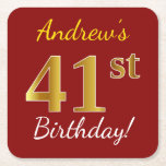 [ Thumbnail: Red, Faux Gold 41st Birthday + Custom Name Paper Coaster ]