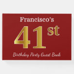 [ Thumbnail: Red, Faux Gold 41st Birthday Party + Custom Name Guest Book ]