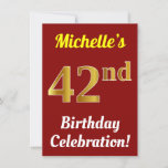 [ Thumbnail: Red, Faux Gold 42nd Birthday Celebration + Name Invitation ]