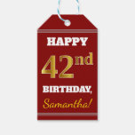 [ Thumbnail: Red, Faux Gold 42nd Birthday + Custom Name Gift Tags ]