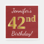 [ Thumbnail: Red, Faux Gold 42nd Birthday + Custom Name Napkin ]