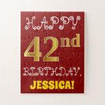 [ Thumbnail: Red, Faux Gold 42nd Birthday + Custom Name Puzzle ]