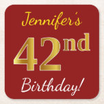 [ Thumbnail: Red, Faux Gold 42nd Birthday + Custom Name Paper Coaster ]
