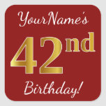 [ Thumbnail: Red, Faux Gold 42nd Birthday + Custom Name Sticker ]