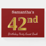 [ Thumbnail: Red, Faux Gold 42nd Birthday Party + Custom Name Guest Book ]