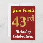 [ Thumbnail: Red, Faux Gold 43rd Birthday Celebration + Name Invitation ]