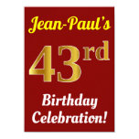 [ Thumbnail: Red, Faux Gold 43rd Birthday Celebration + Name Invitation ]