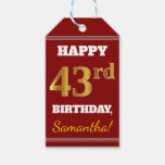 [ Thumbnail: Red, Faux Gold 43rd Birthday + Custom Name Gift Tags ]