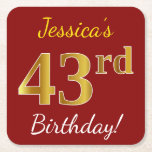 [ Thumbnail: Red, Faux Gold 43rd Birthday + Custom Name Paper Coaster ]
