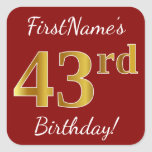 [ Thumbnail: Red, Faux Gold 43rd Birthday + Custom Name Sticker ]