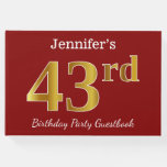 [ Thumbnail: Red, Faux Gold 43rd Birthday Party + Custom Name Guest Book ]