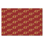 [ Thumbnail: Red, Faux Gold 43rd (Forty-Third) Event Tissue Paper ]