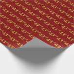 [ Thumbnail: Red, Faux Gold 43rd (Forty-Third) Event Wrapping Paper ]