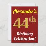 [ Thumbnail: Red, Faux Gold 44th Birthday Celebration + Name Invitation ]