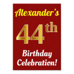 [ Thumbnail: Red, Faux Gold 44th Birthday Celebration + Name Invitation ]