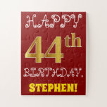 [ Thumbnail: Red, Faux Gold 44th Birthday + Custom Name Puzzle ]