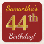 [ Thumbnail: Red, Faux Gold 44th Birthday + Custom Name Paper Coaster ]