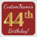 [ Thumbnail: Red, Faux Gold 44th Birthday + Custom Name Sticker ]