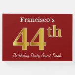 [ Thumbnail: Red, Faux Gold 44th Birthday Party + Custom Name Guest Book ]