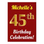 [ Thumbnail: Red, Faux Gold 45th Birthday Celebration + Name Invitation ]